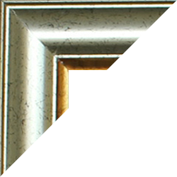 Individueller Bilderrahmen Modell Sidney Farbe Silber Antik Gold