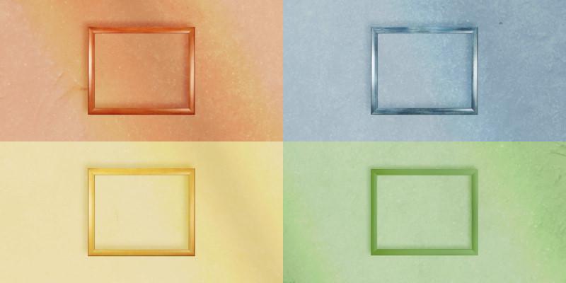 Vier farbige Kacheln mit gleichfarbigen Bilderrahmen darin (Farbbeispiele)